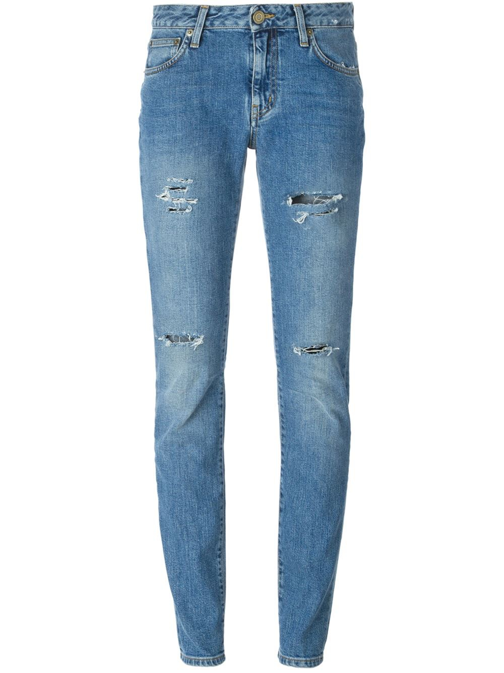 saint laurent distressed slim jeans in blue lyst. Black Bedroom Furniture Sets. Home Design Ideas