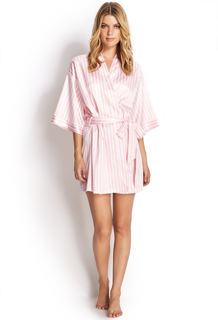 Forever 21 Candy Striped Robe in Light Pink/White (Pink) - Lyst
