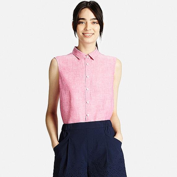 Uniqlo Premium Linen Sleeveless Shirt In Pink Lyst