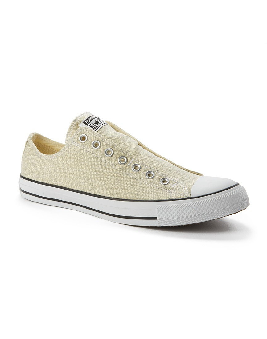 converse chuck taylor all star slip on plimsolls in white for men. Black Bedroom Furniture Sets. Home Design Ideas