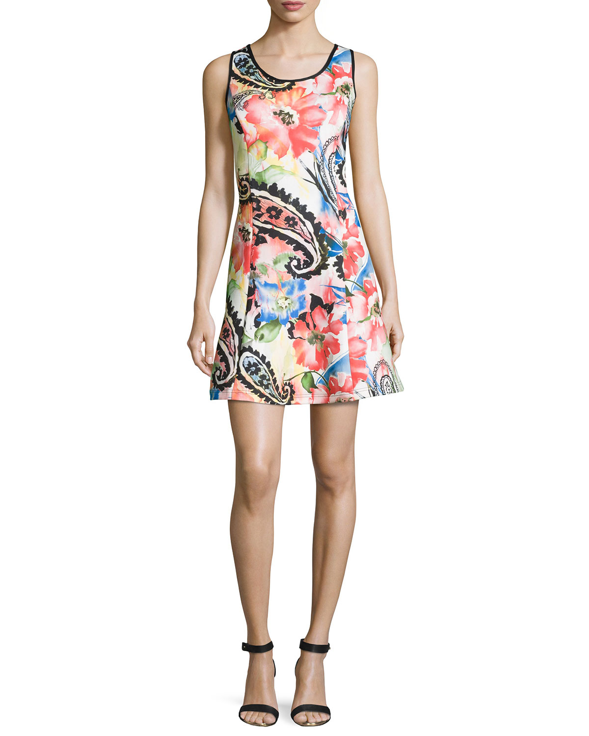 Neiman Marcus Synthetic Floral Sleeveless Fit And Flare
