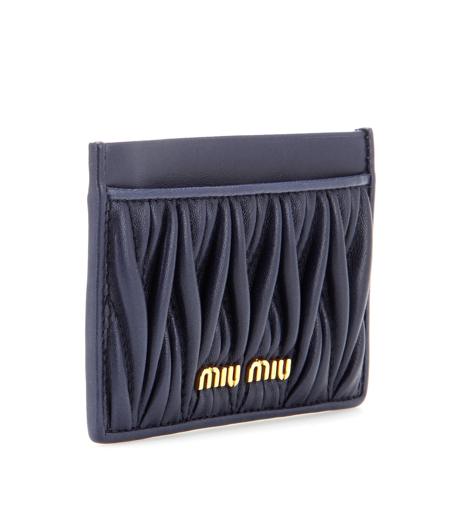 Lyst - Miu Miu Matelassé Leather Card Holder in Black 2295d557074bb