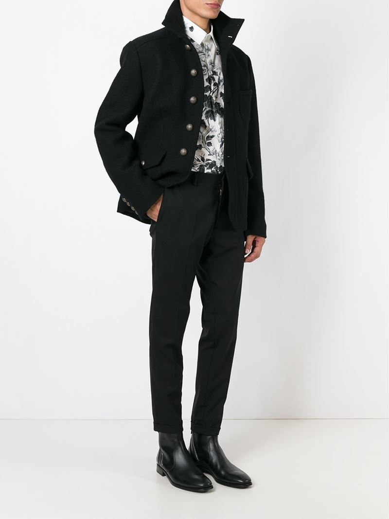 Dolce & Gabbana Military-Style Jacket in Black for Men