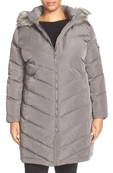 Calvin Klein Down Amp Feather Fill Coat With Faux Fur In