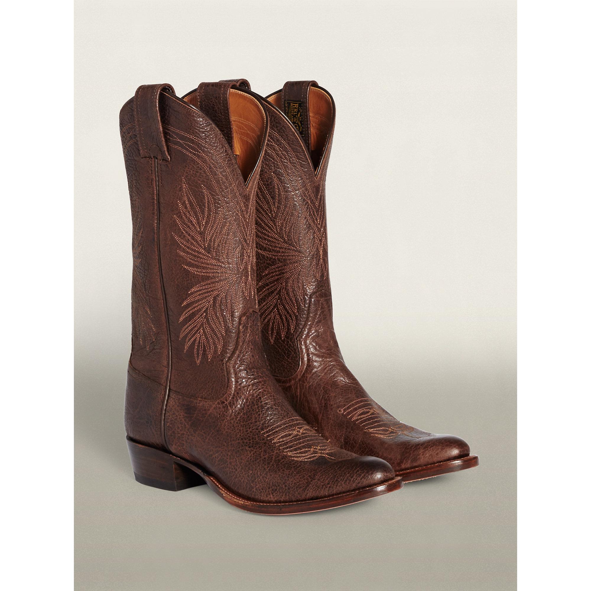 b3600d30056 RRL Brown Plainview Cowboy Boot for men