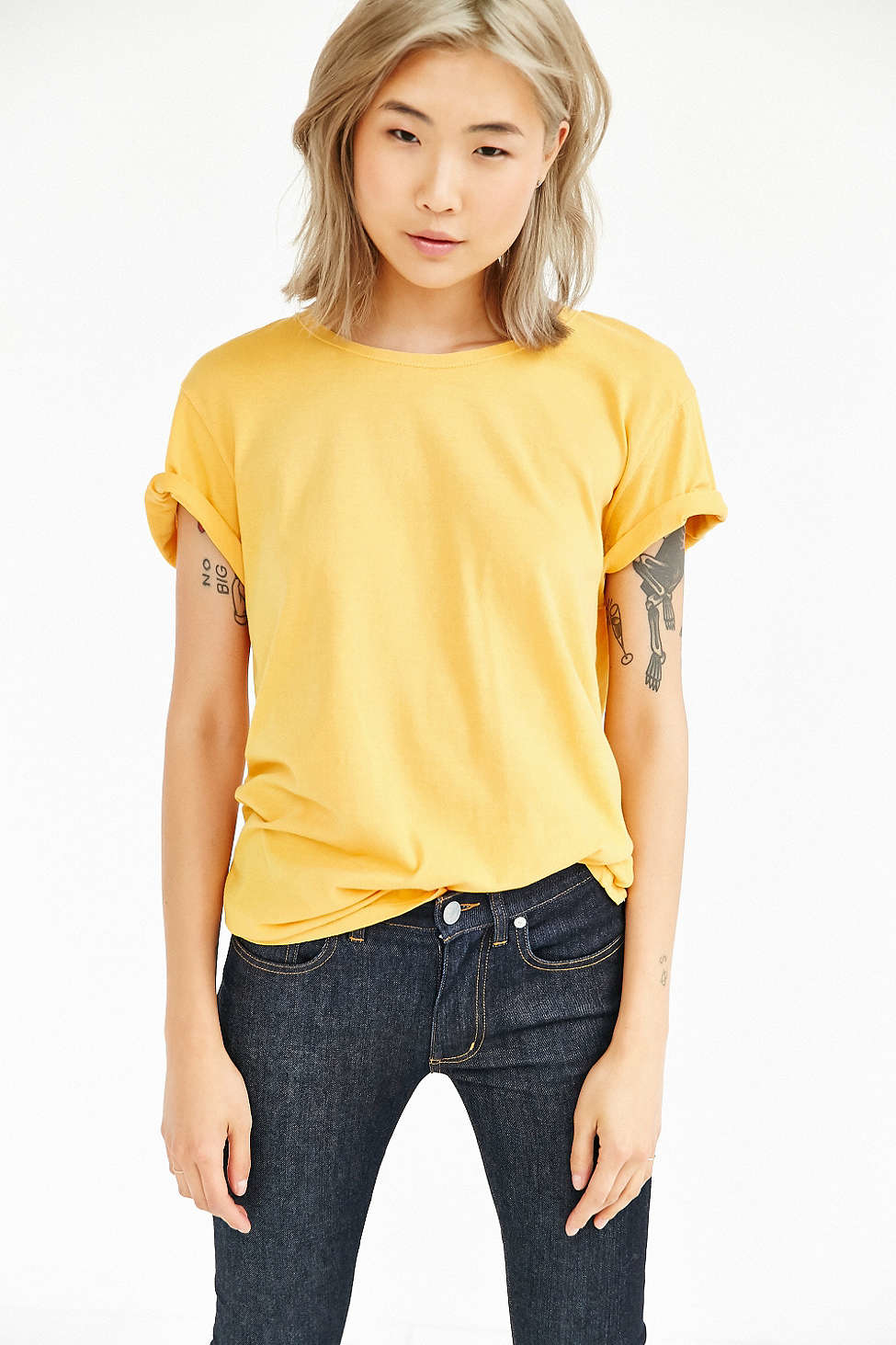 Bdg Pigment Dyed Unisex Wide Neck Tee In Yellow Lyst
