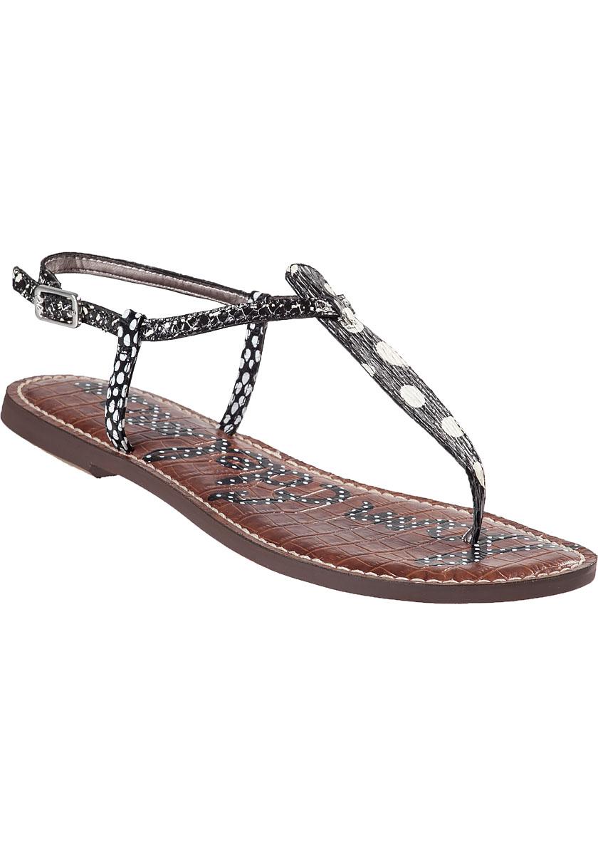 Lyst Sam Edelman Gigi Snake Print Leather Sandals In Black
