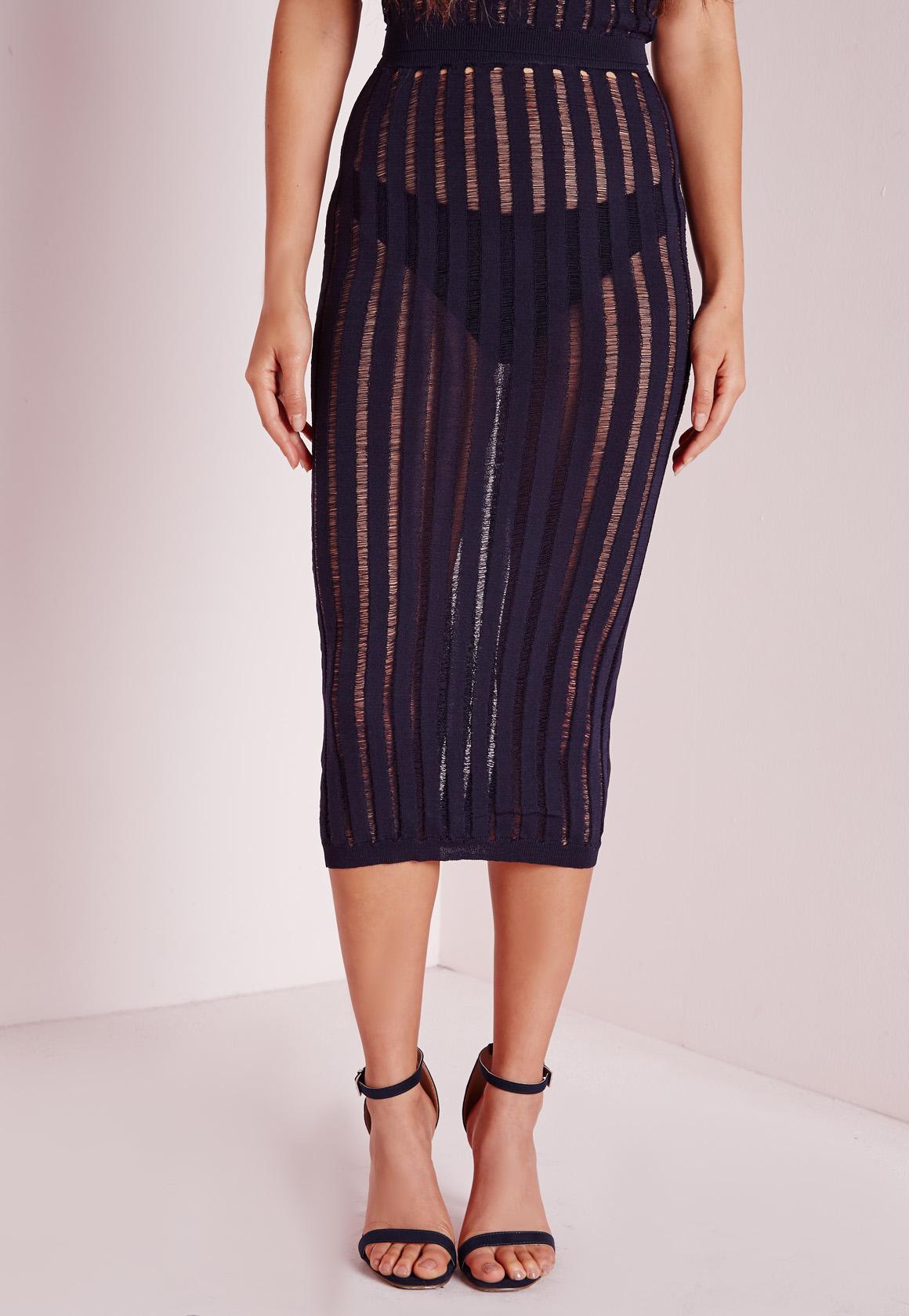 missguided sheer stripe midi skirt navy in blue lyst
