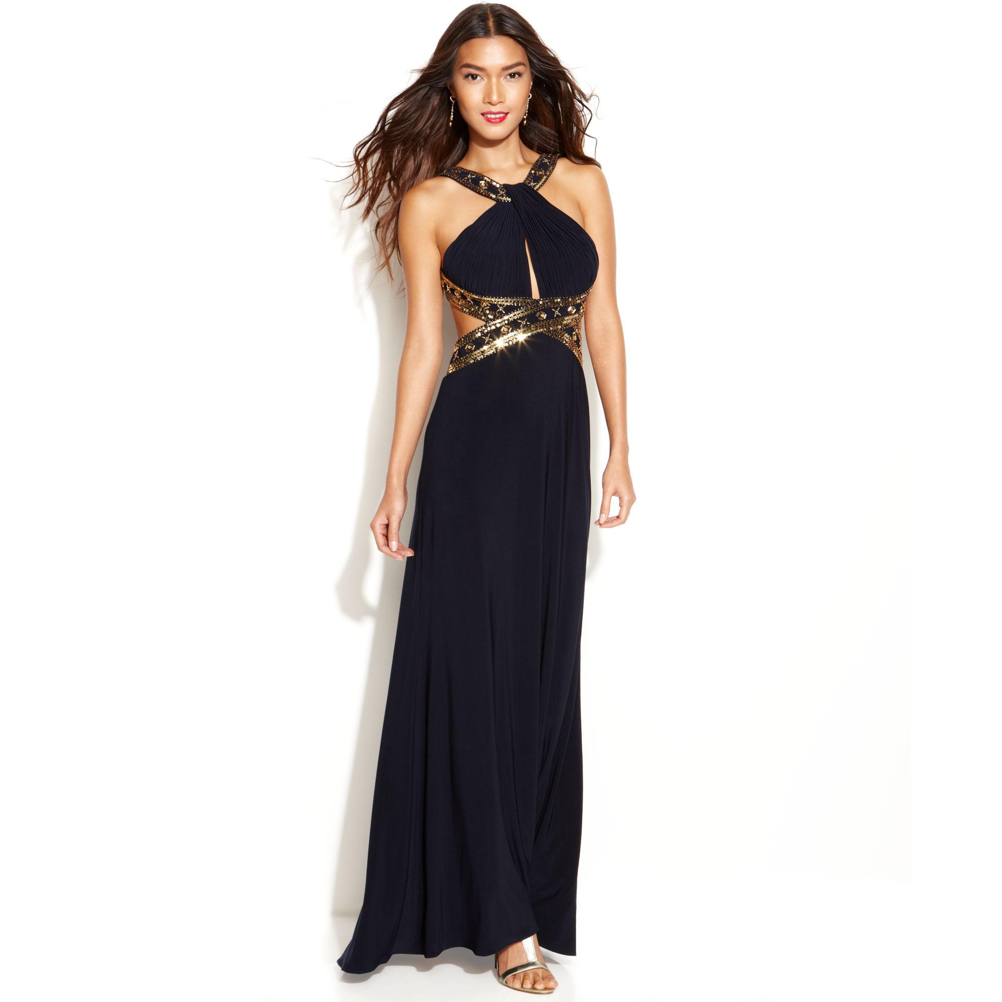 Betsy & Adam Beaded Cut-out Halter Gown In Blue