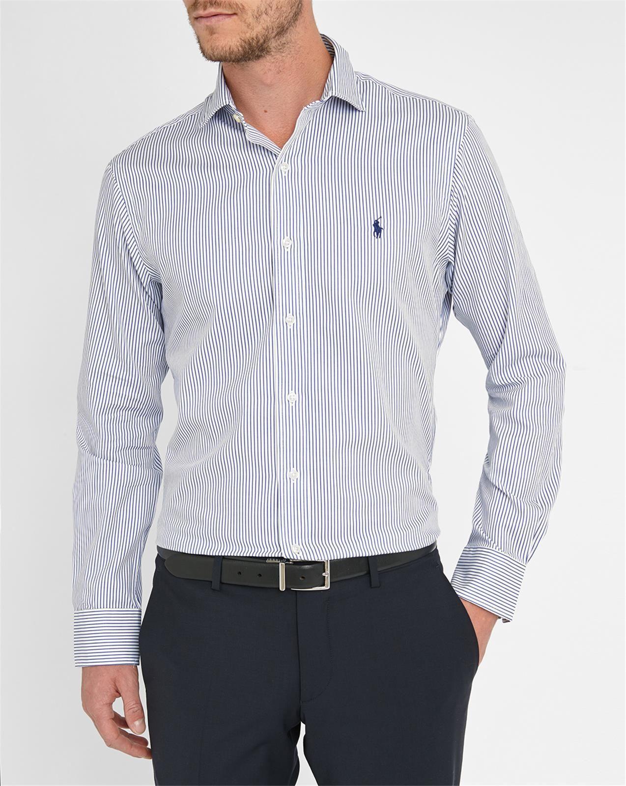 polo ralph lauren white blue striped slim fit shirt in. Black Bedroom Furniture Sets. Home Design Ideas