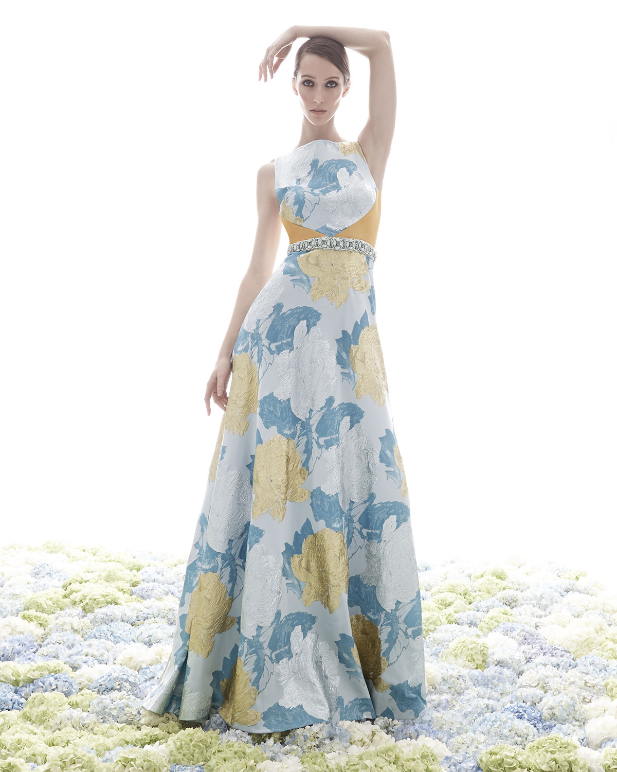 Lyst - Theia Floral Brocade Gown