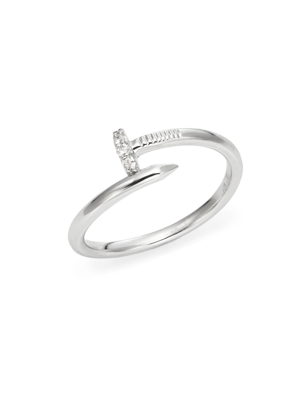 Lyst Kc Designs Brilliant Diamond 14k White Gold Nail Ring In White