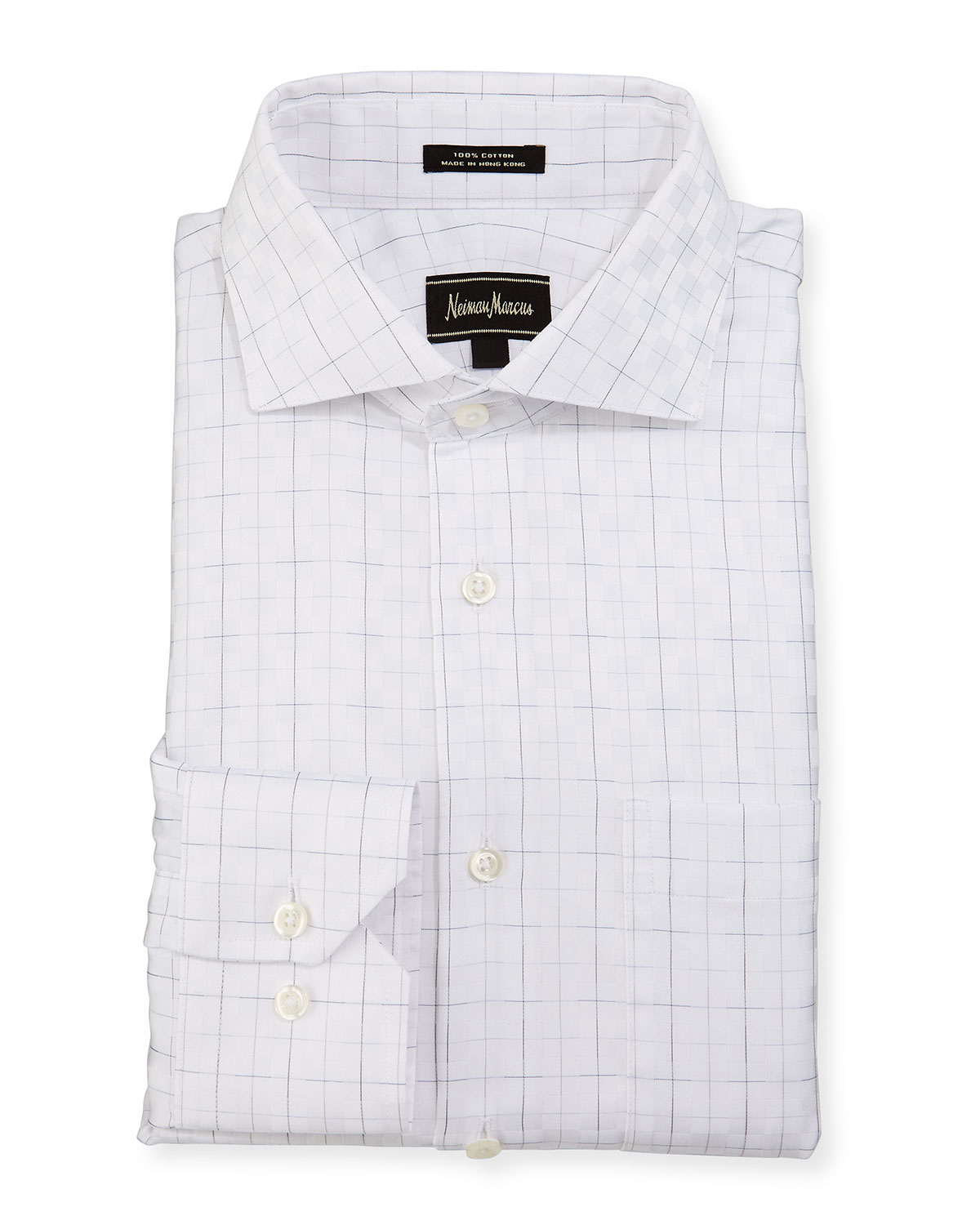 Lyst neiman marcus classic fit regular finish square for Patterned dress shirts for men