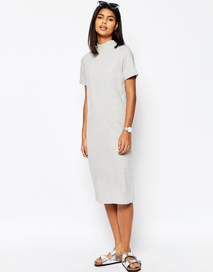 7f8214d950d1 Lyst - ASOS Midi T-shirt Dress With High Neck - Grey in Gray