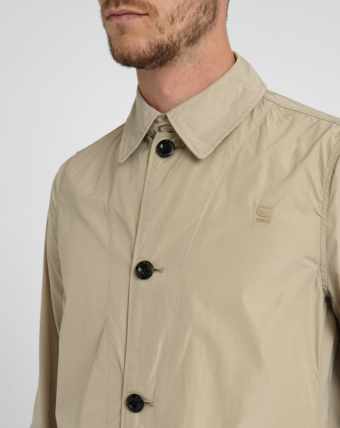g star raw beige valdo james nylon trench coat in natural for men lyst. Black Bedroom Furniture Sets. Home Design Ideas