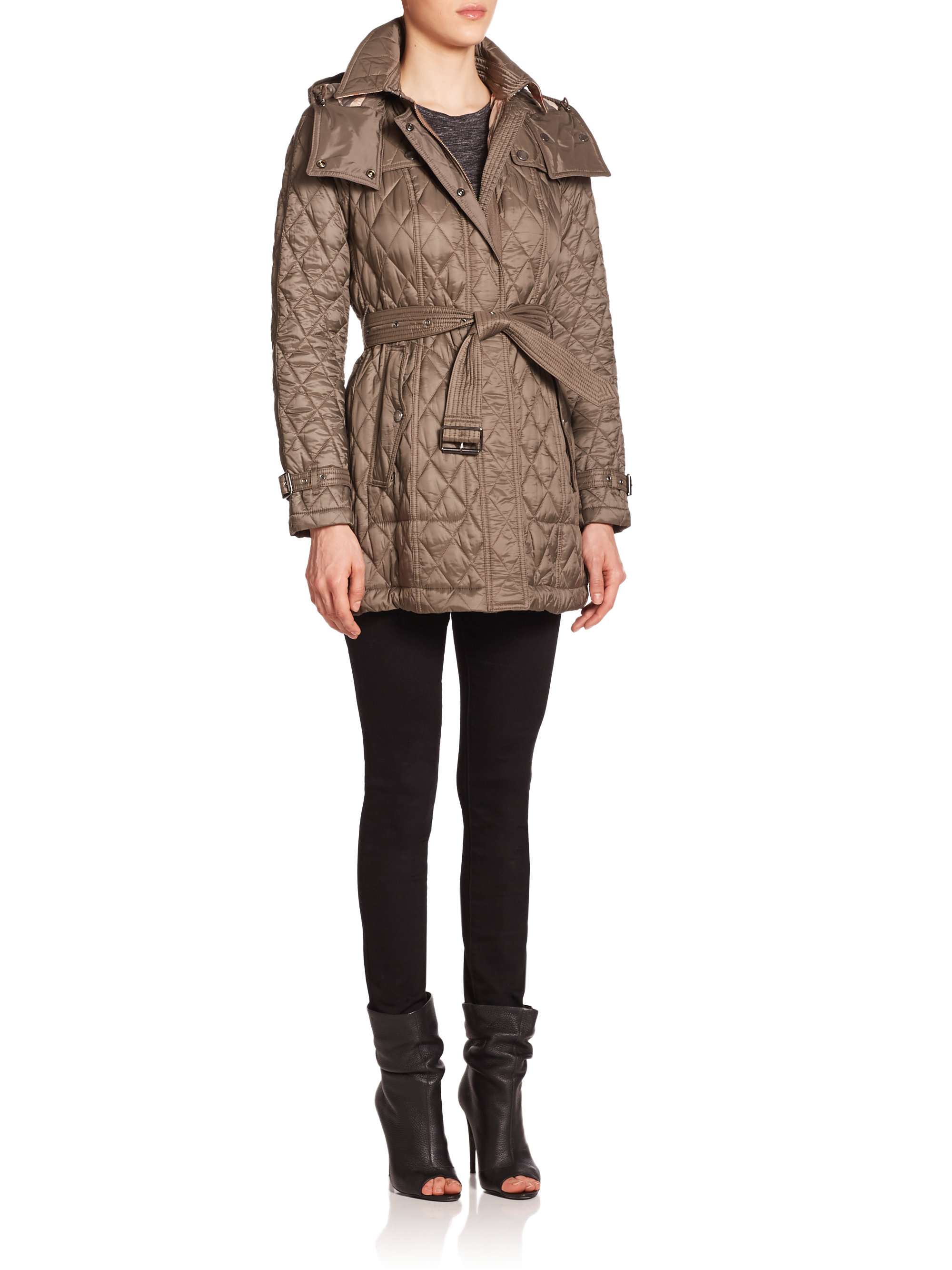 Burberry Brit Finsbridge Diamond Quilted Coat In Gray Lyst