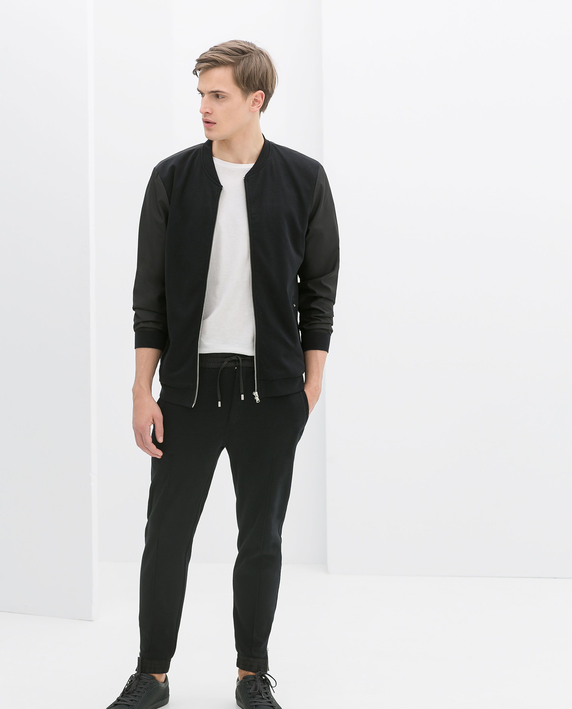 Zara Combined Fabric Bomber Jacket in Blue for Men | Lyst