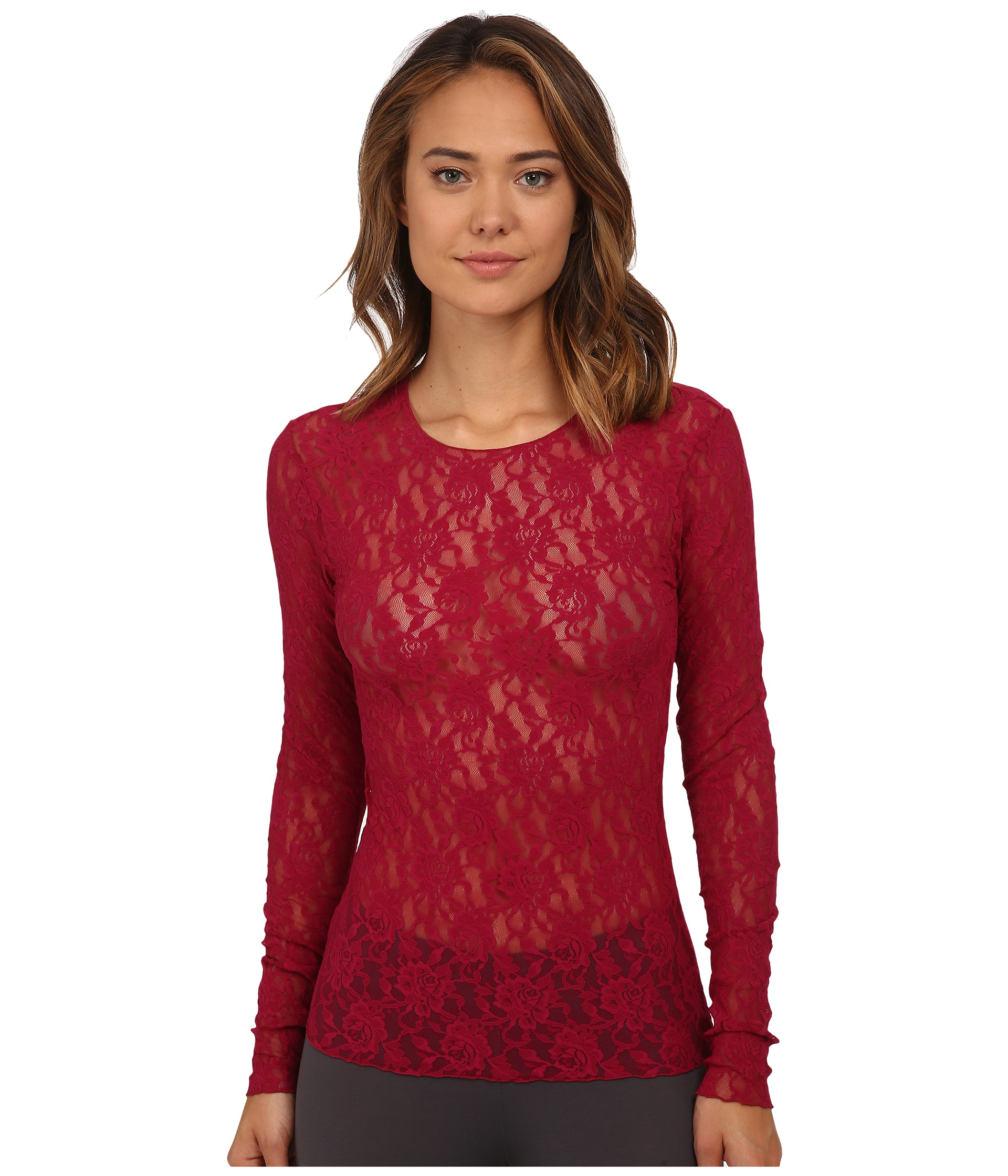 c7af7266fc0 Lyst - Hanky Panky Signature Lace Unlined Long Sleeve Top in Red