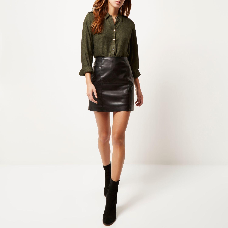 black leather look mini skirt dress ala