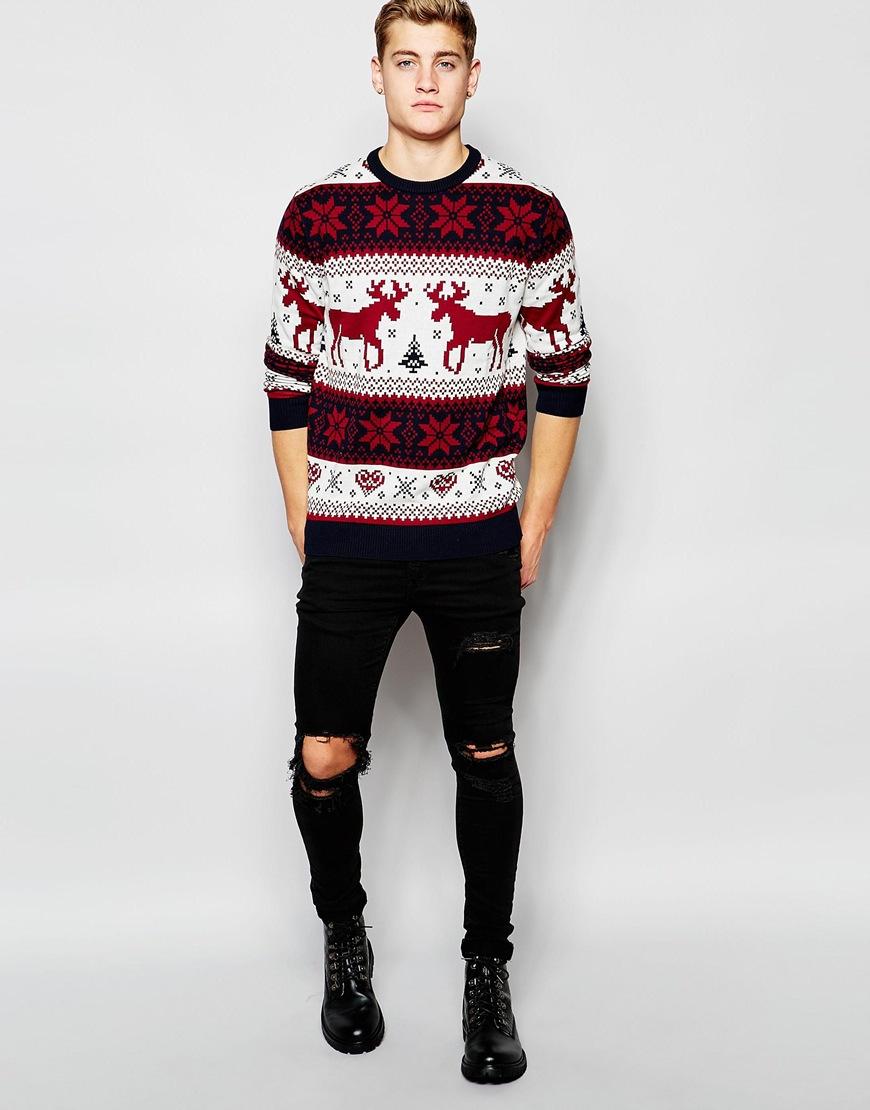 schnelle Farbe hochwertiges Design anerkannte Marken Jack & Jones Cotton Christmas Reindeer Knitted Jumper in Red ...