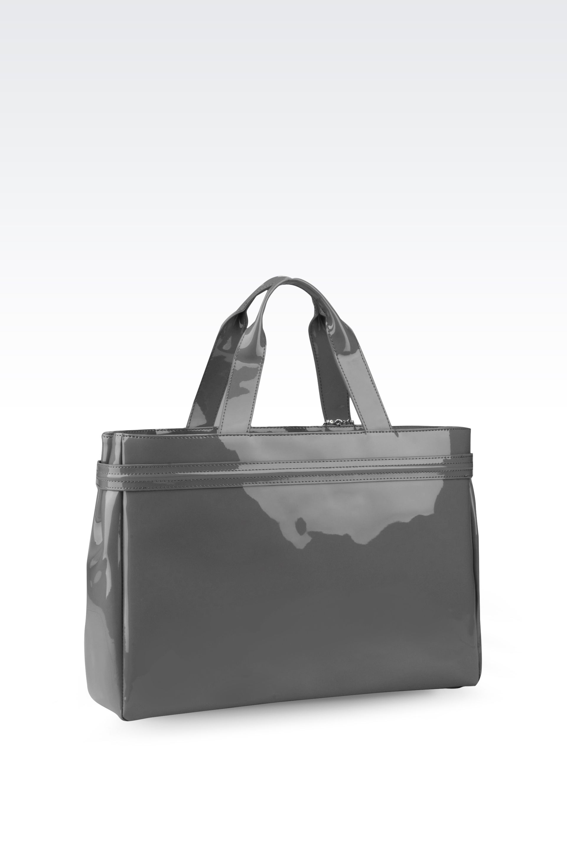 add90fc0d3ff Lyst - Armani Jeans Shopping Bag In Patent Faux Leather With Pendant ...