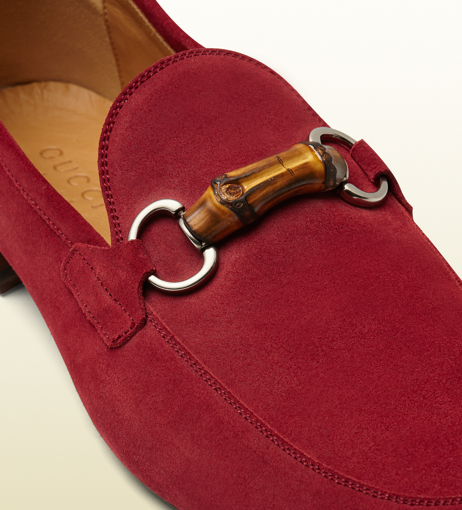 Lyst Gucci Suede Bamboo Horsebit Loafer In Red For Men