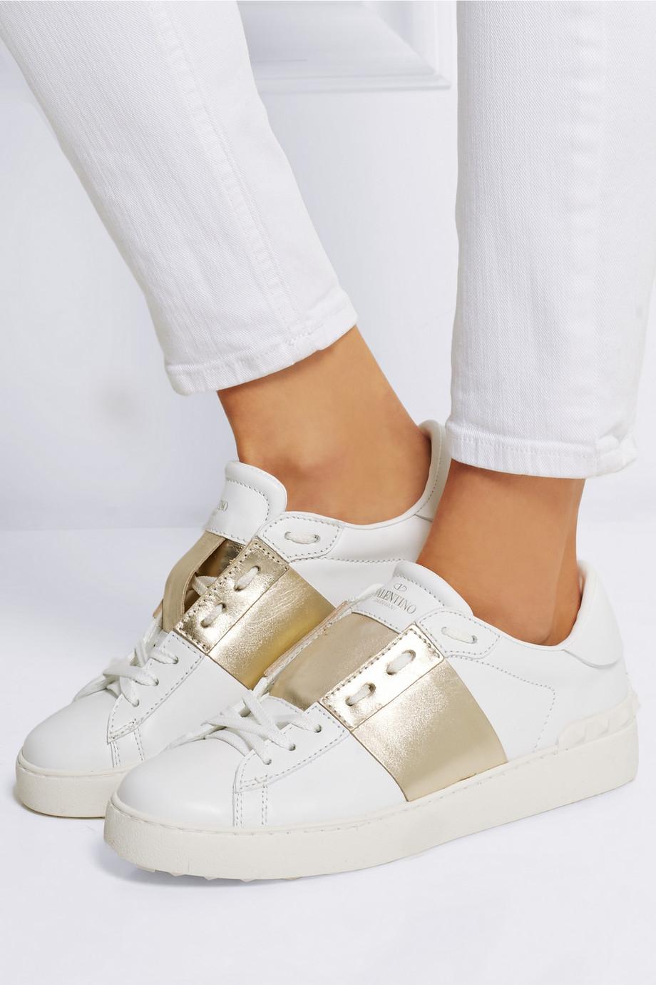 6384270329eb Lyst - Valentino Metallic-Paneled Leather Sneakers in White VALENTINO Nylon  Rockstud Snow Boots S 35-37 White 105015