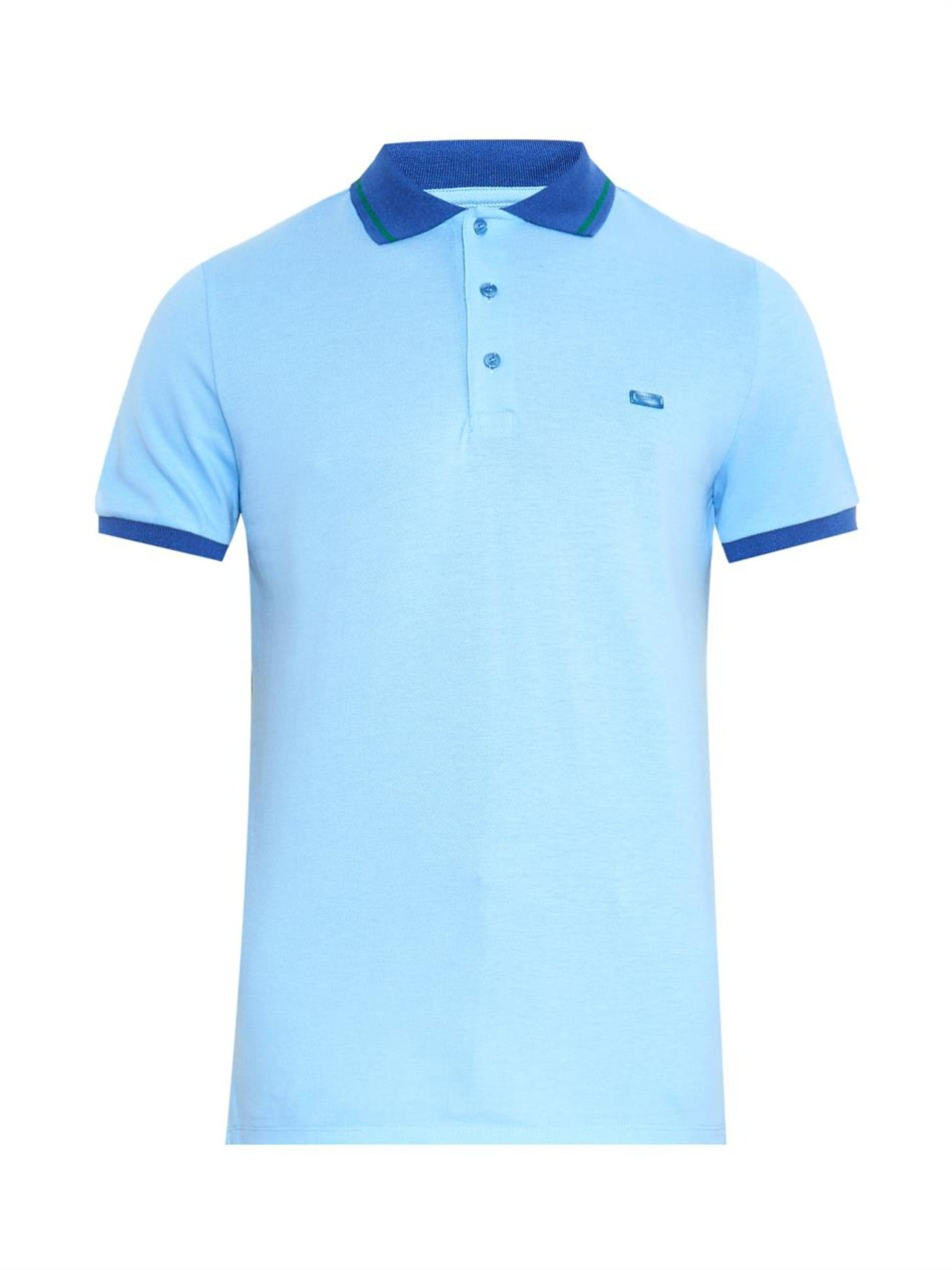 868ed3b53ced Burberry Atkins Cotton-Piqué Polo Shirt in Blue for Men - Lyst