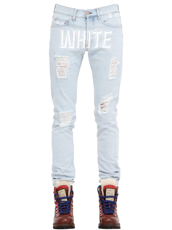 Off-white c/o virgil abloh Slim Destroyed & Bleached Denim Jeans ...