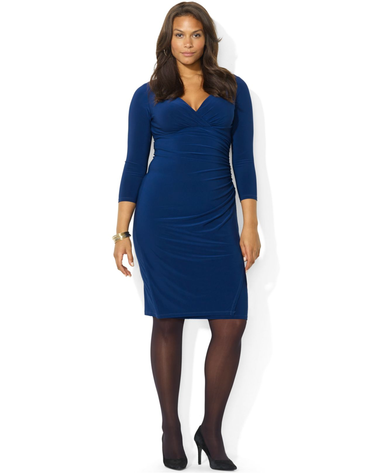 Lauren by Ralph Lauren Blue Plus Size Long-Sleeve Ruched Jersey Dress