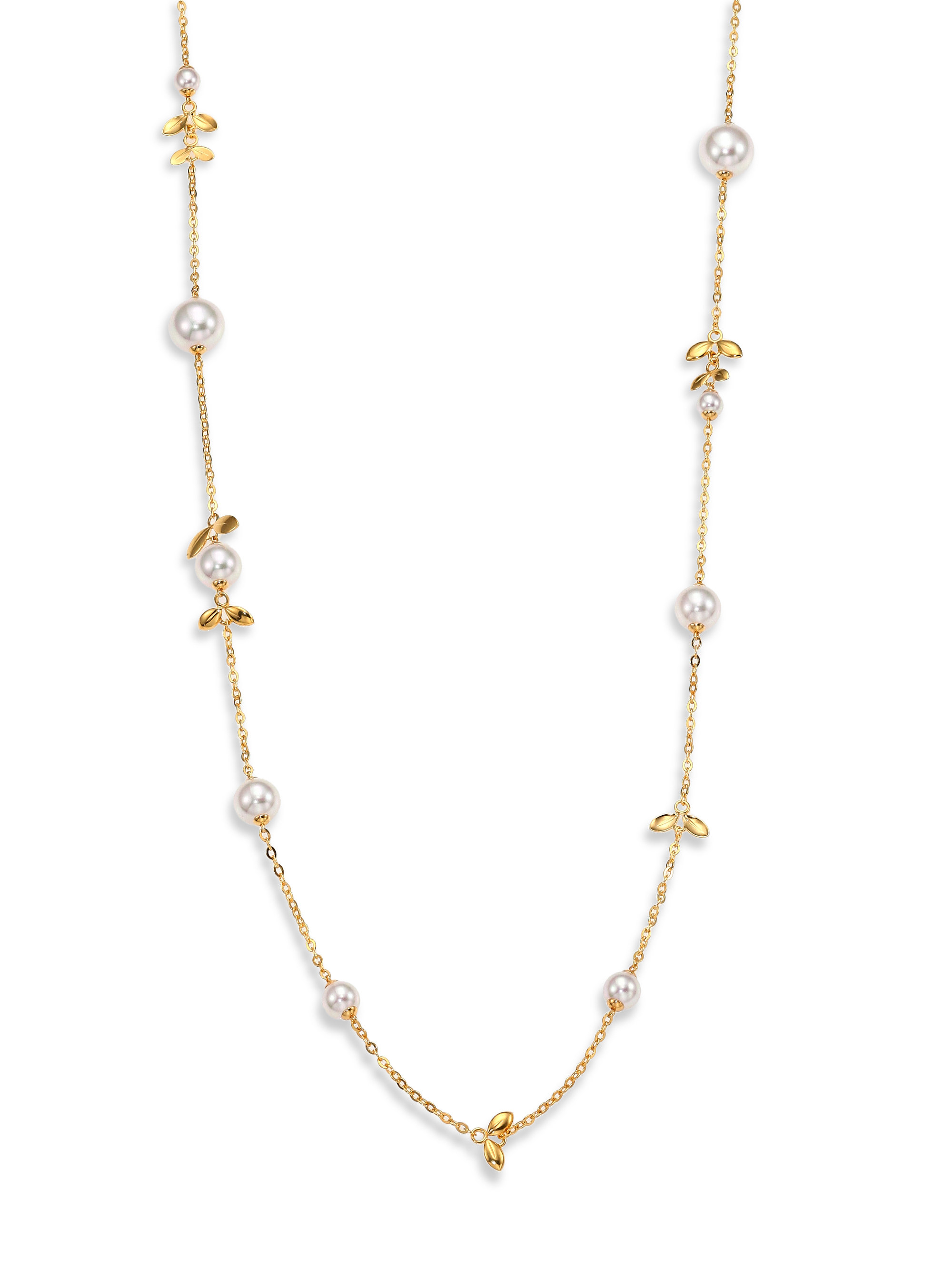 Majorica 12mm White Pearl Leaf Station Necklace In Gold