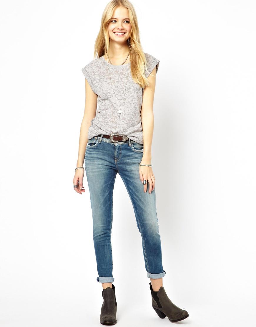 Pepe jeans Joey Slim Boyfriend Jeans in Blue | Lyst