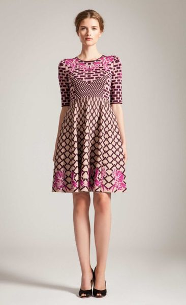 Temperley London Carissa Jacquard Flare Dress In Pink