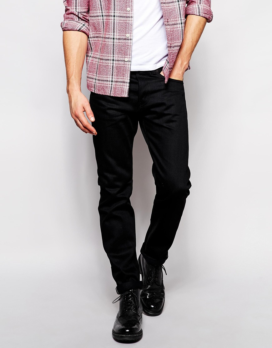 Edwin Jeans Ed 80 Slim Tapered Fit White Listed Black