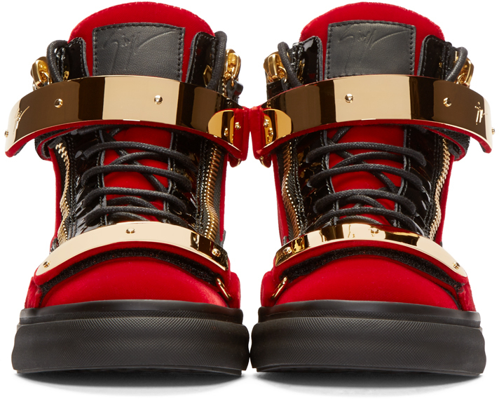 4bc7de701d392 Giuseppe Zanotti Red & Black Velour High-top London Sneakers in Red ...