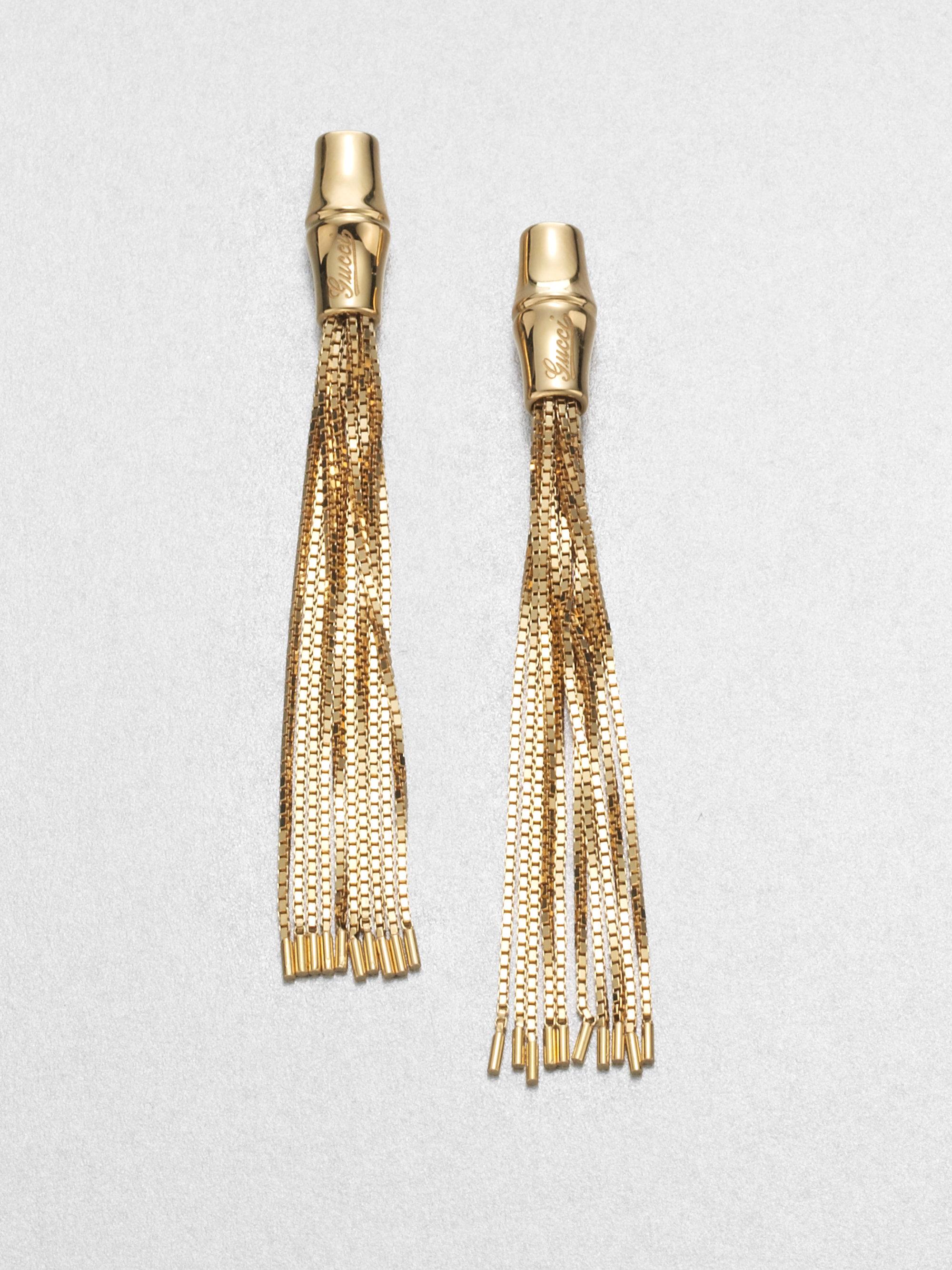 Gucci Bamboo 18k Yellow Gold Tassel Earrings in Metallic