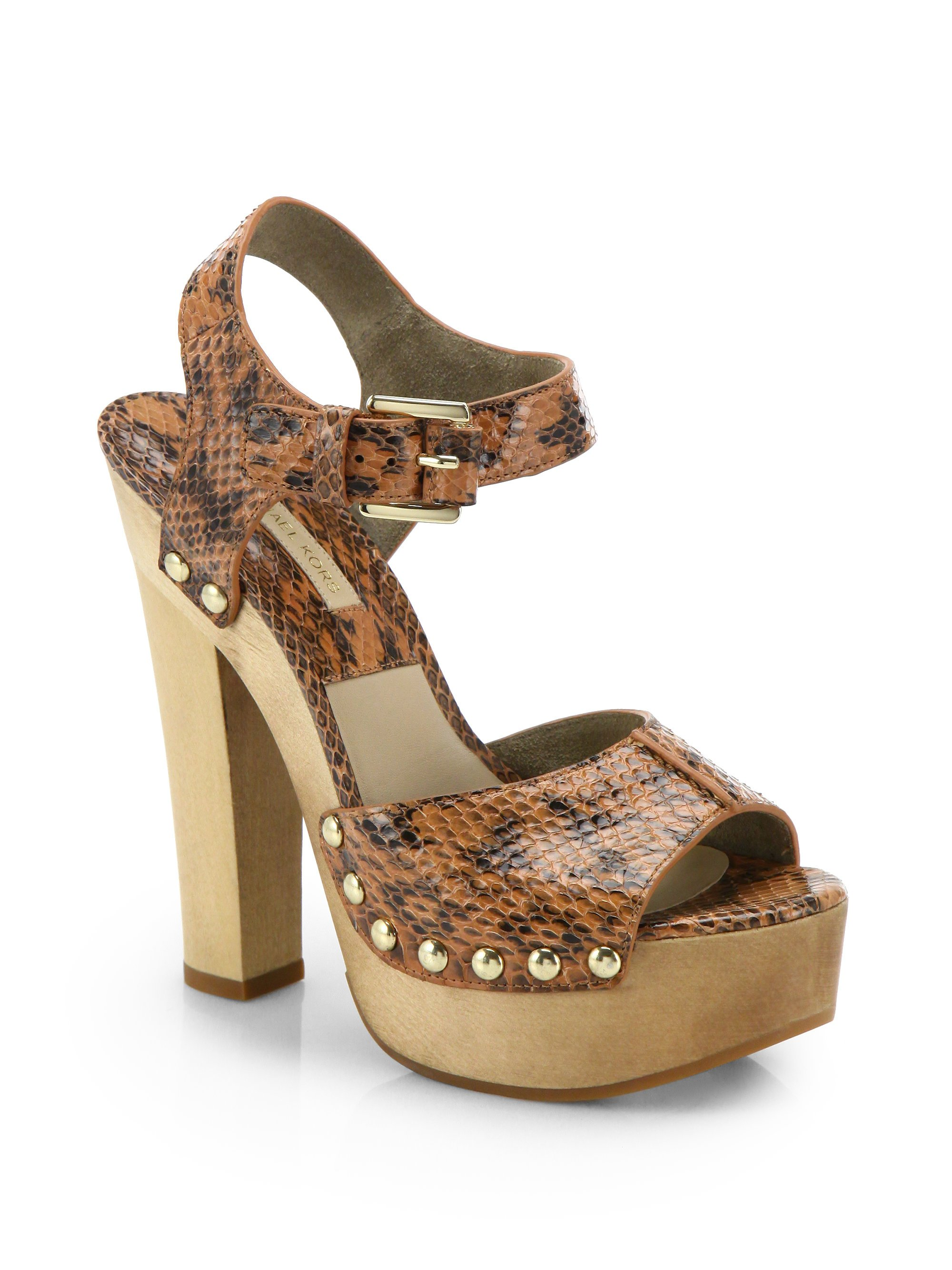 c8d2502ad39b Michael Kors Annabell Studded Snakeskin Platform Sandals in Brown - Lyst