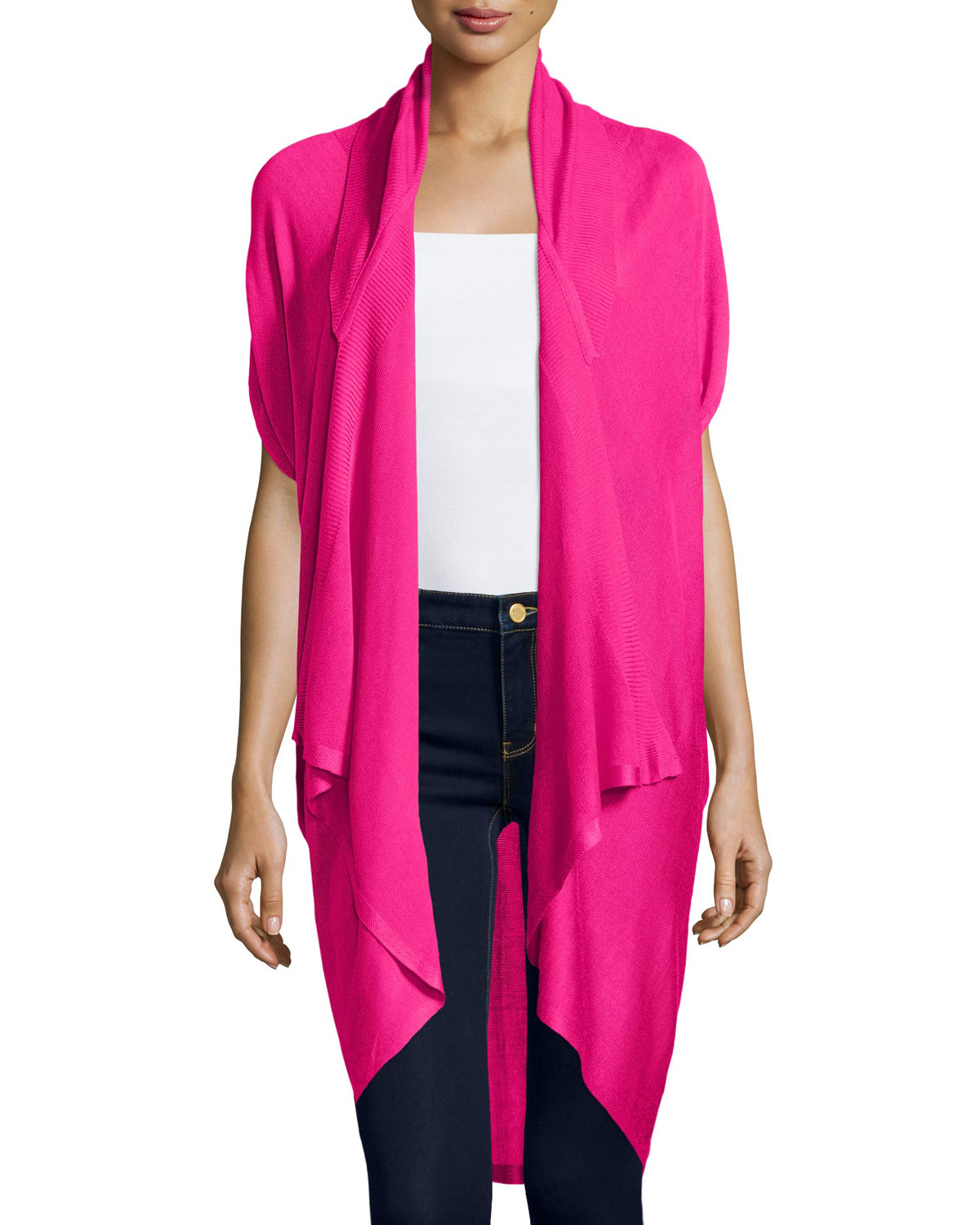 Neiman marcus Drape-front Short-sleeve Cardigan in Pink | Lyst