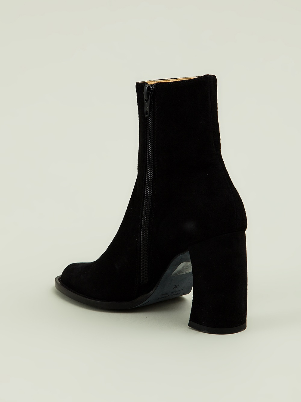 Ann Demeulemeester Blanche Curved Heel Ankle Boots in Black