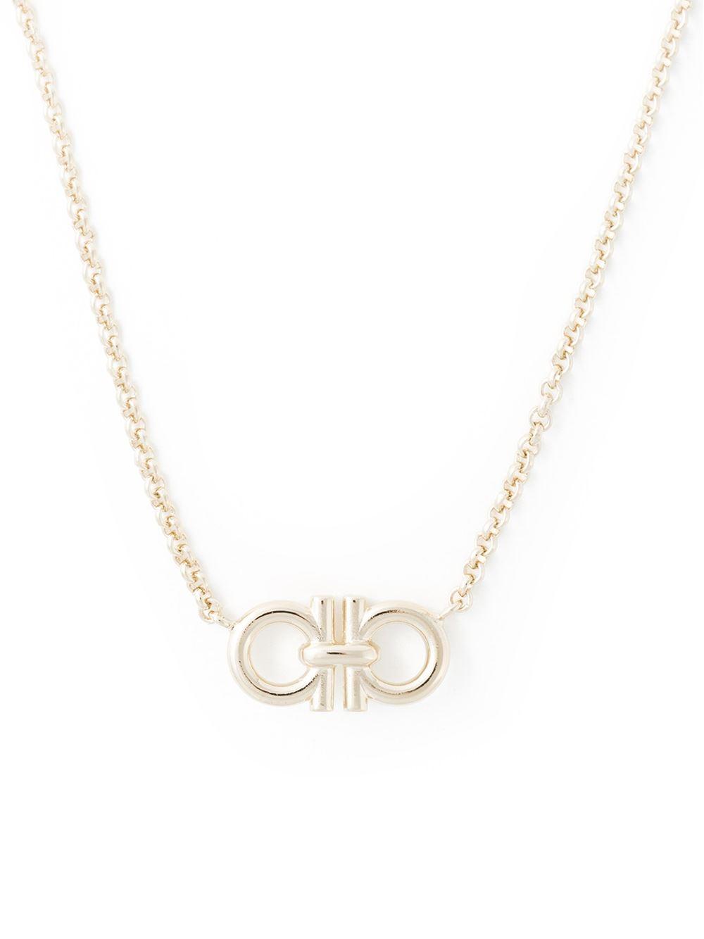 ferragamo gancini pendant necklace in gold metallic lyst
