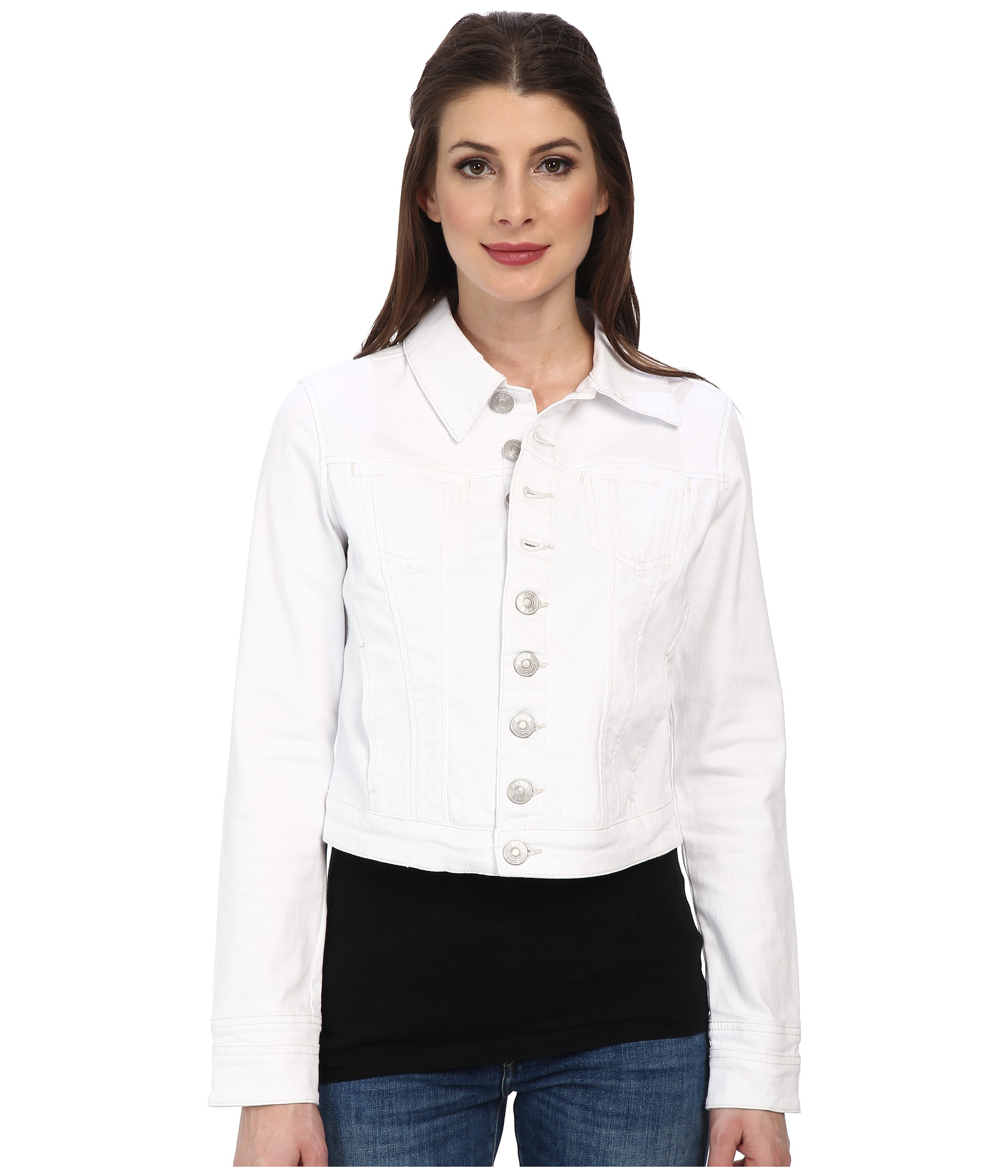 Jag Jeans Savannah Denim Fitted Jacket In White Denim in White | Lyst