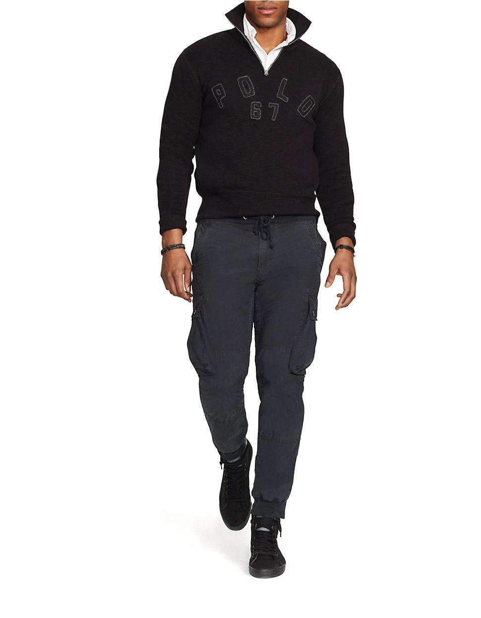 polo ralph lauren half zip mockneck pullover in black for. Black Bedroom Furniture Sets. Home Design Ideas