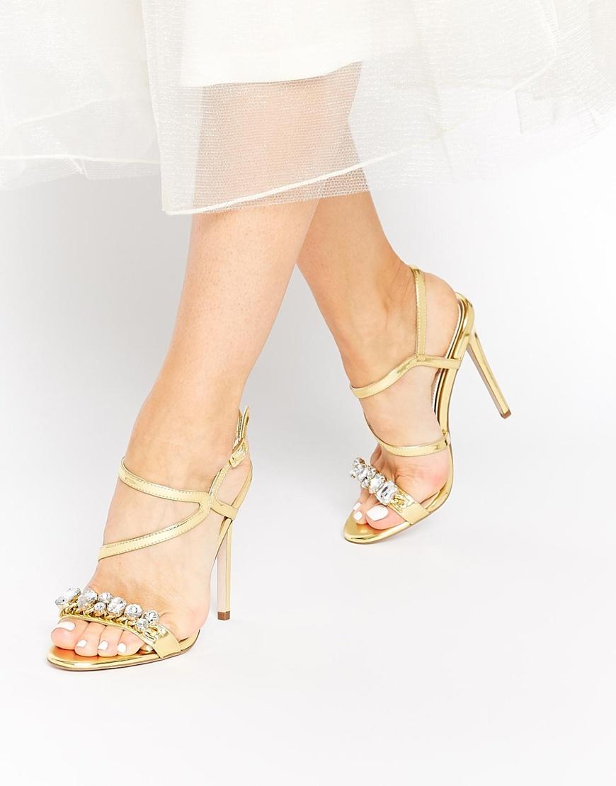 c4daa0bbd767f ASOS Hambley Heeled Sandals in Metallic - Lyst
