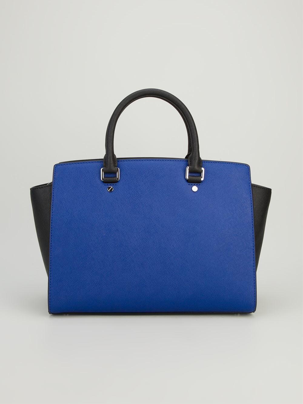 Michael By Michael Kors Colour Block Tote Bag in Blue