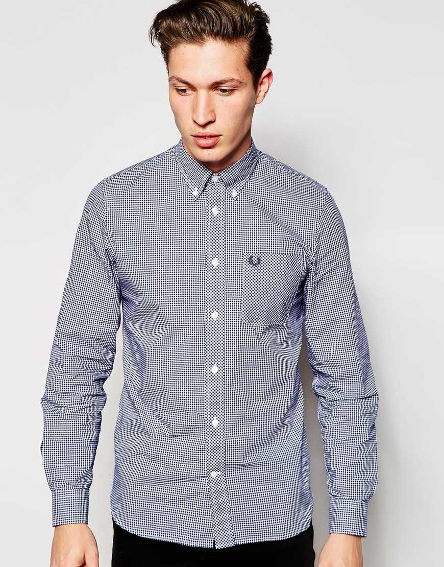 fred perry shirt in slim fit gingham with long sleeves
