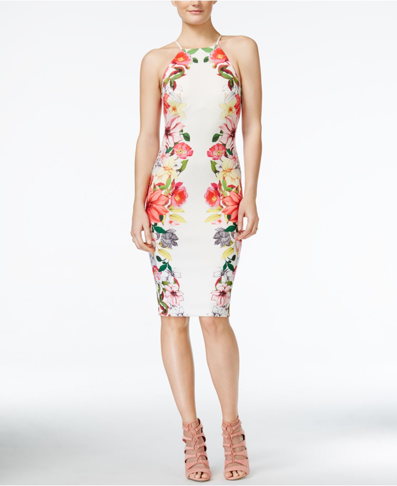 floral bodycon dress guess