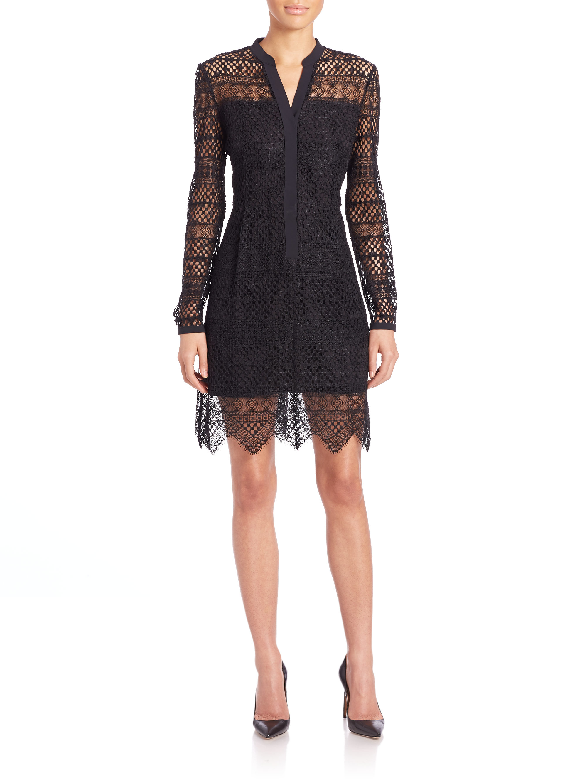 elie tahari whitney eyelet shirtdress in black lyst