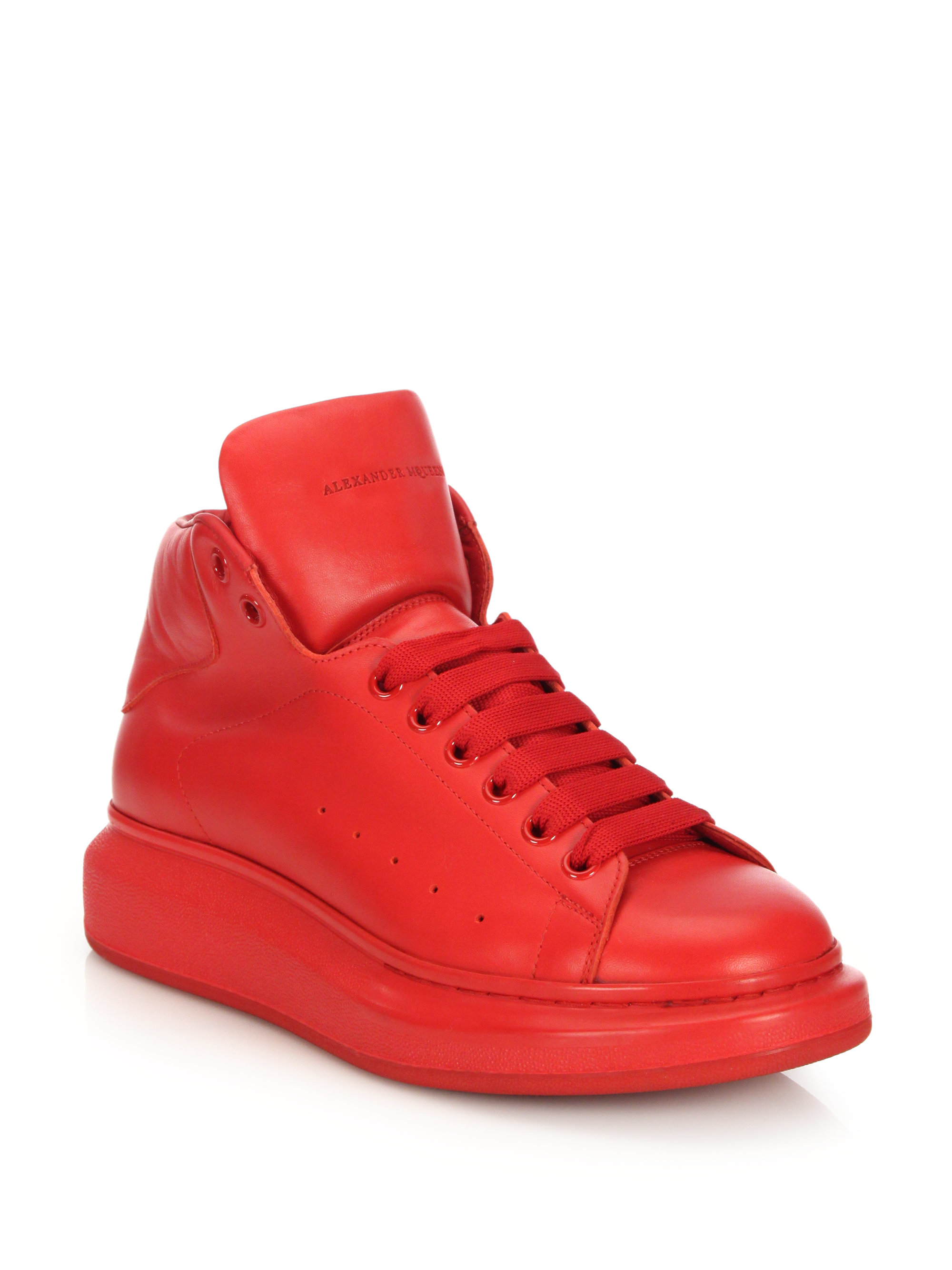 Alexander Mcqueen Leather High-Top Sneakers In Red - Lyst-7846