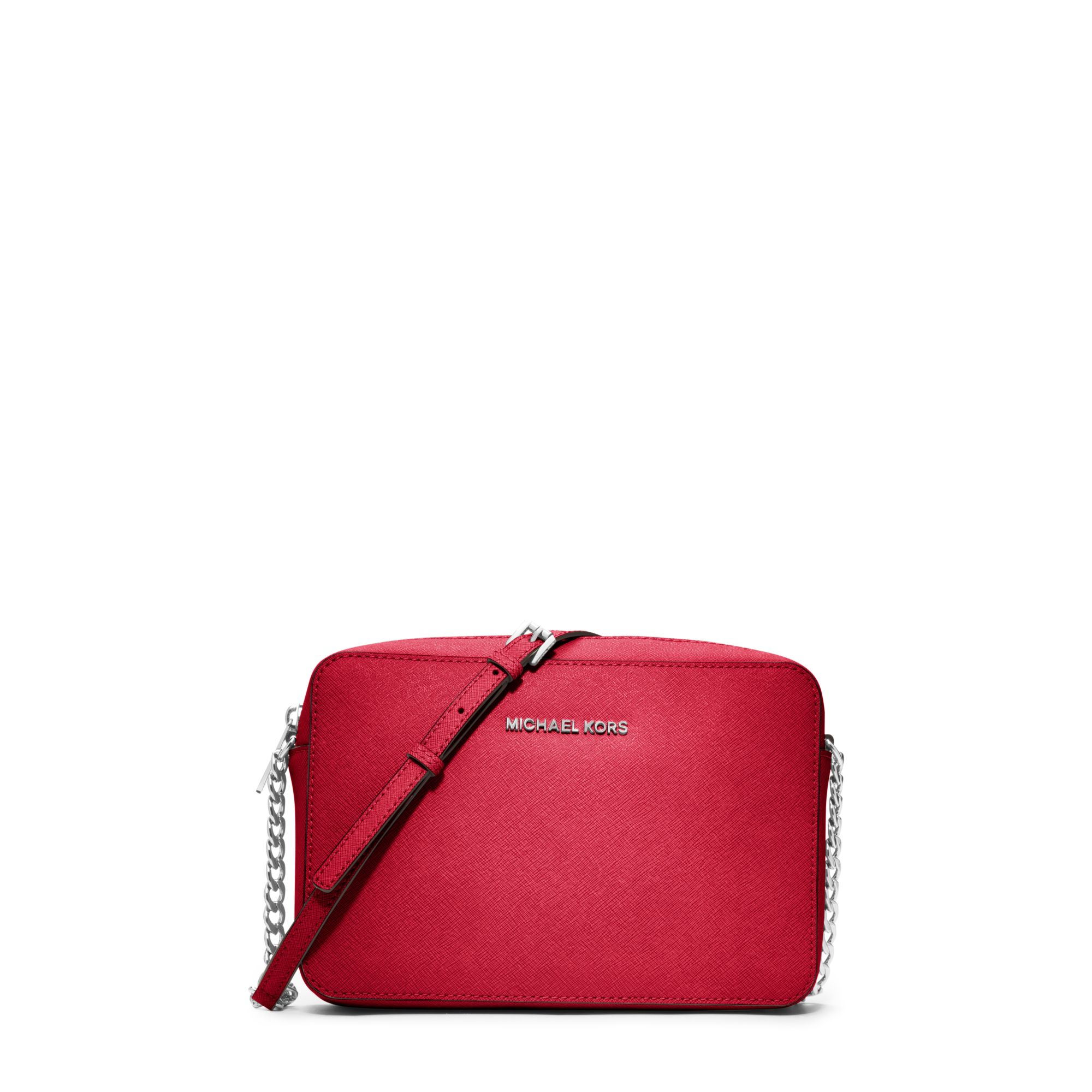 michael kors jet set travel large saffiano leather crossbody in red. Black Bedroom Furniture Sets. Home Design Ideas
