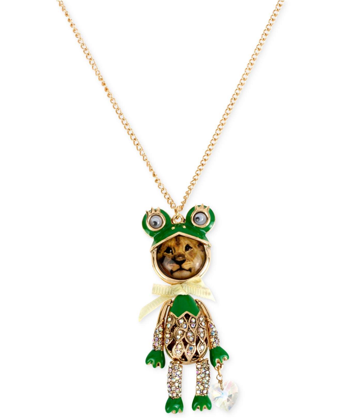 Lyst Betsey Johnson Gold Tone Lion Frog Long Pendant